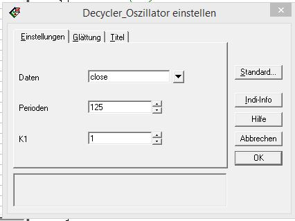 Ehlers Decycle Oszillator -Parameter